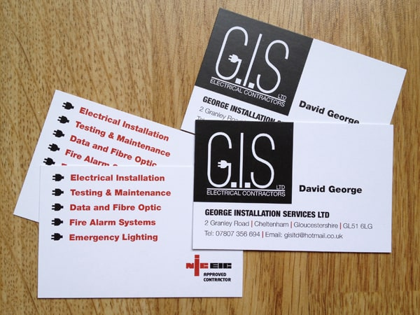 GIS Electrical Contractors Business Card George Installation Services