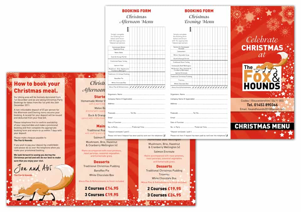 Fox & Hounds Christmas Menu Design