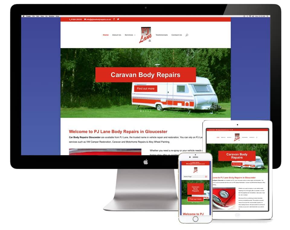 PJ Lane Body Repairs, Tewkesbury Website Design